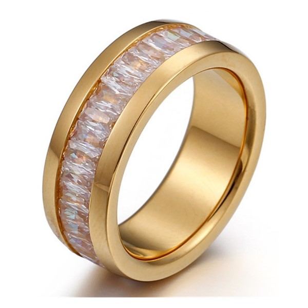 JaneE shiny stainless steel ring multi colors for men-3