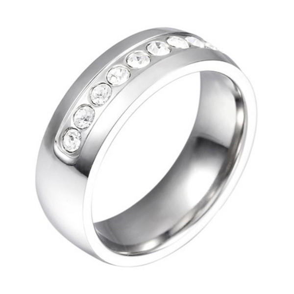 JaneE shiny steel band ring fashion design for weddings