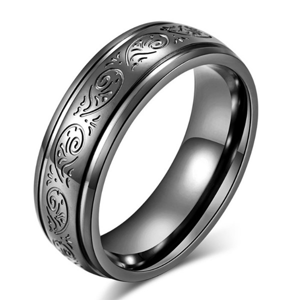 JaneE square edges stainless steel wedding bands comfortable for men-2
