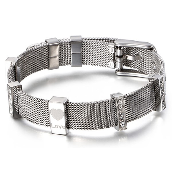 multi colors stainless steel bangle bracelets with genuine leather strap exquisite manufacturer-2