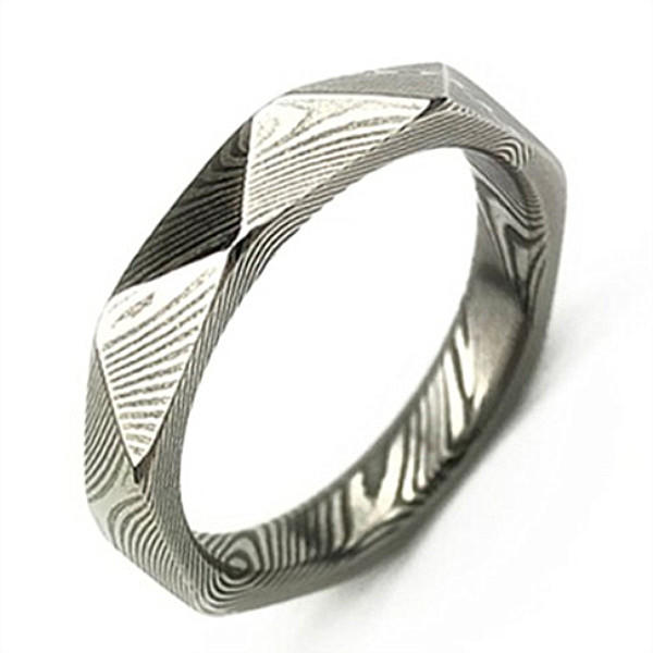 Unique Faceted Damascus Steel Education Ring for Boy Girl 6mm-2