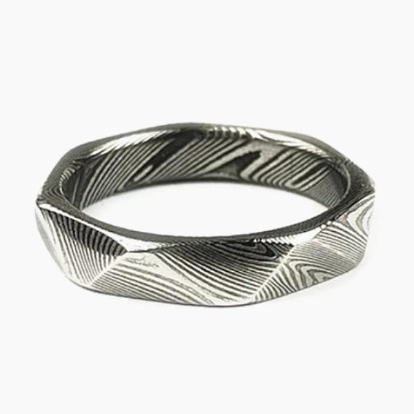Unique Faceted Damascus Steel Education Ring for Boy Girl 6mm-1