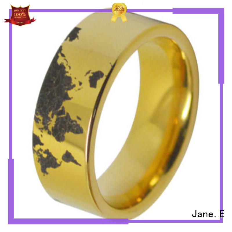 JaneE shiny polished wood inlay wedding band exquisite for engagement