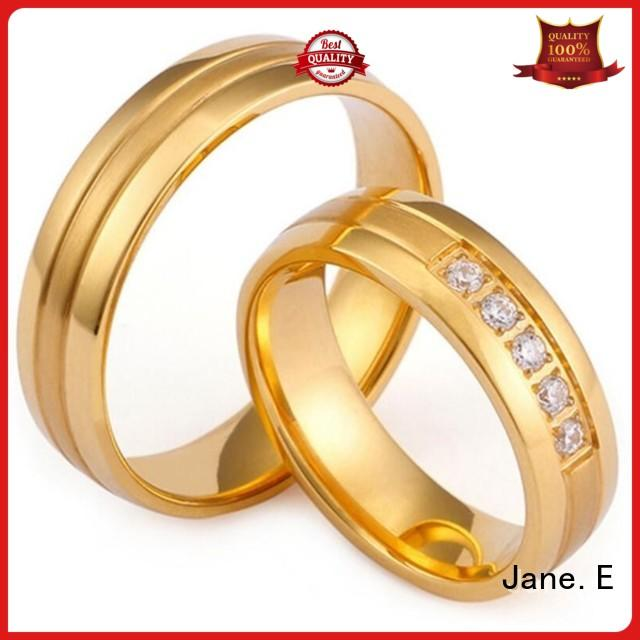 JaneE blue stainless steel promise rings top quality for decoration