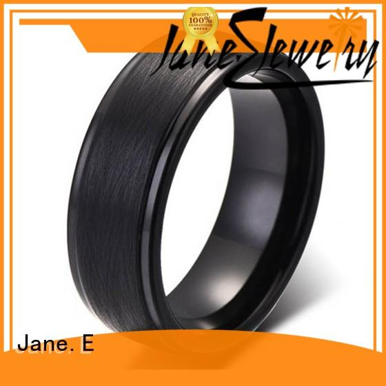JaneE traditional engraved tungsten rings meteorite for engagement