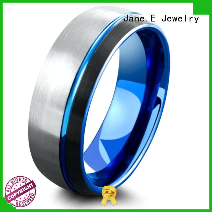JaneE shiny polished blue tungsten ring engraved for wedding