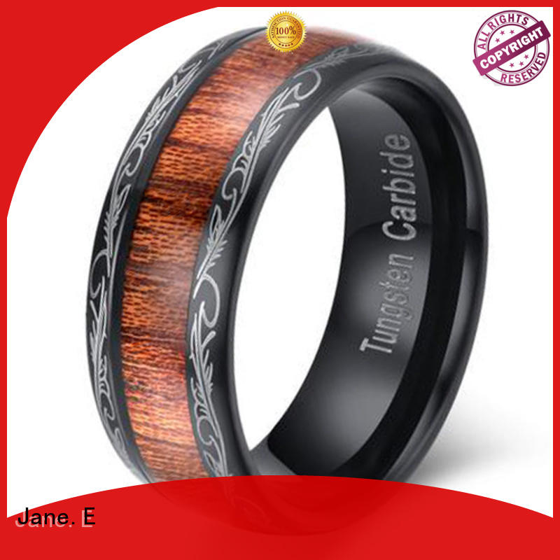 JaneE multi colors 8mm tungsten carbide wedding band koa wood for engagement