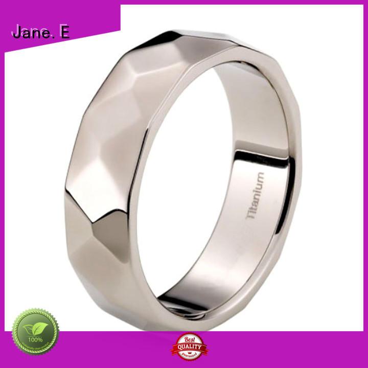JaneE 14k yellow gold custom black titanium rings modern design for anniversary