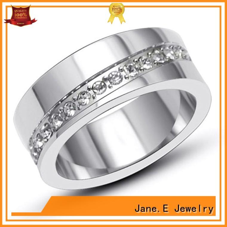 JaneE shiny steel engagement ring top quality for decoration