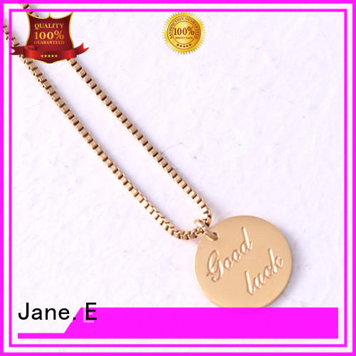 JaneE classic stainless steel necklace manual polished for gift