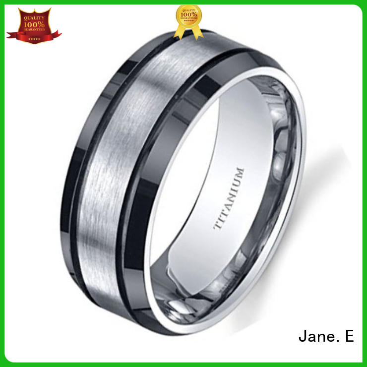 JaneE yellow gold men's titanium wedding band wholesale for engagement