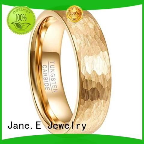 JaneE shiny polished black tungsten ring engraved for gift