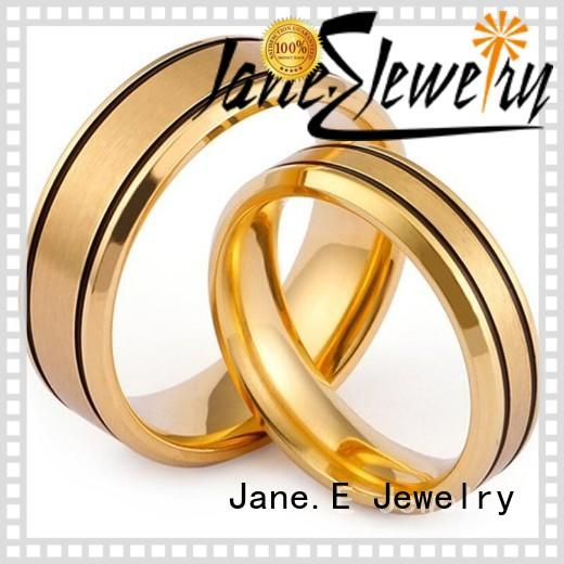 JaneE plating stainless steel rose gold ring multi colors for weddings