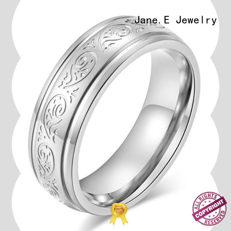 JaneE customized stainless steel ring multi colors for weddings