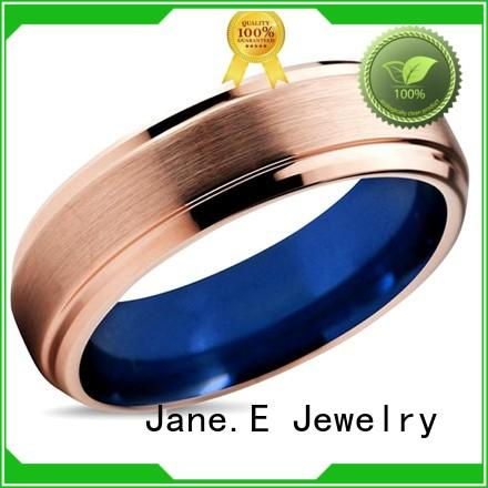 JaneE unique design mens wedding bands wood inlay exquisite for engagement