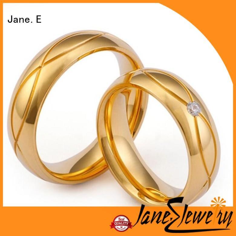 JaneE milgrain custom stainless steel ring top quality for weddings