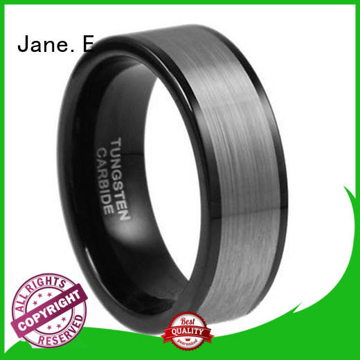 JaneE shiny polished black tungsten carbide rings engraved for gift