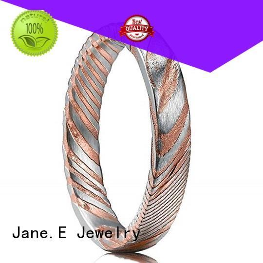 Rose Gold Damascus Steel Wedding Bend for Men 4mm Women Ring