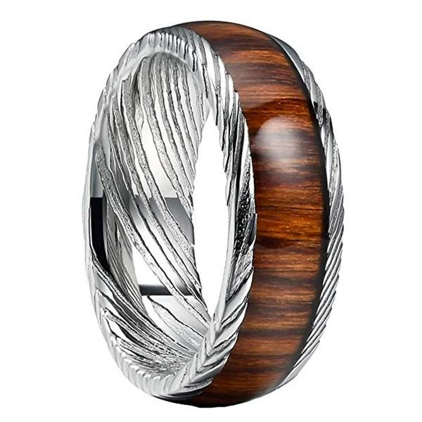 multi colors damascus steel ring with wood inlay flexible wholesale for engagement-2