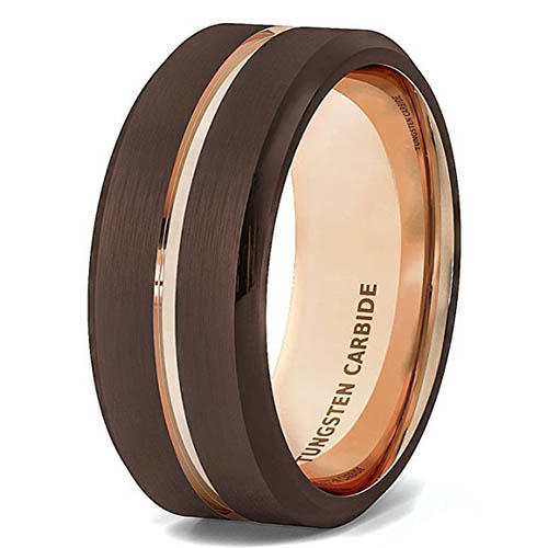 multi colors mens tungsten carbide wedding bands two tones matt for gift-2
