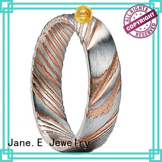 multi colors damascus steel ring with wood inlay flexible wholesale for engagement
