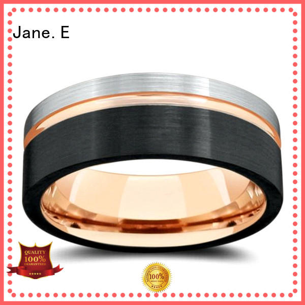 inlay brushed rose gold tungsten carbide ring engraved for gift JaneE