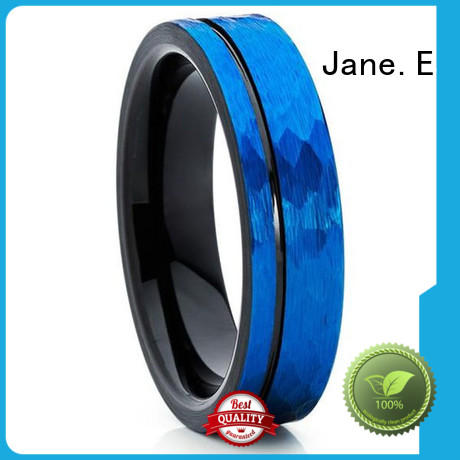 meteorite brushed tungsten wedding band damascus texture for engagement JaneE