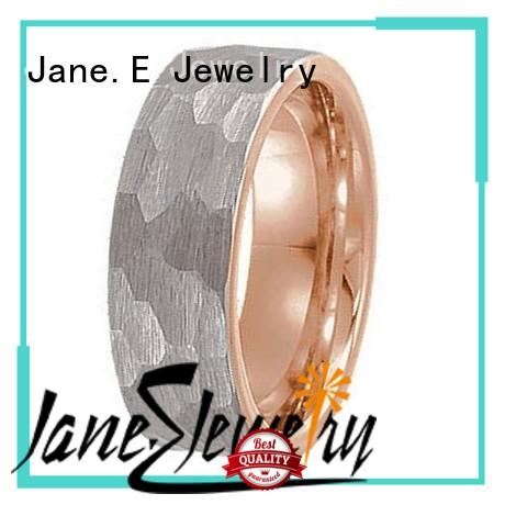 JaneE damascus texture black tungsten ring exquisite for wedding
