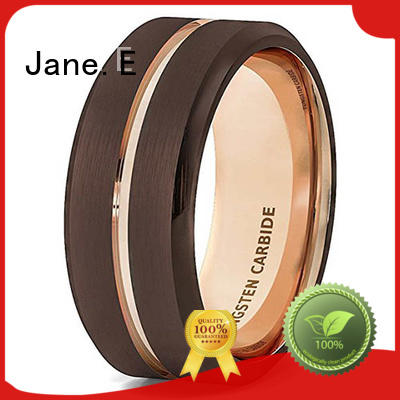 JaneE shiny polished tungsten carbide engagement rings matt for wedding