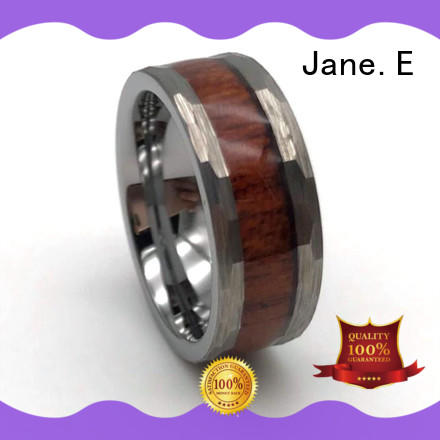 JaneE shiny polished tungsten wedding bands with blue inlay koa wood for engagement