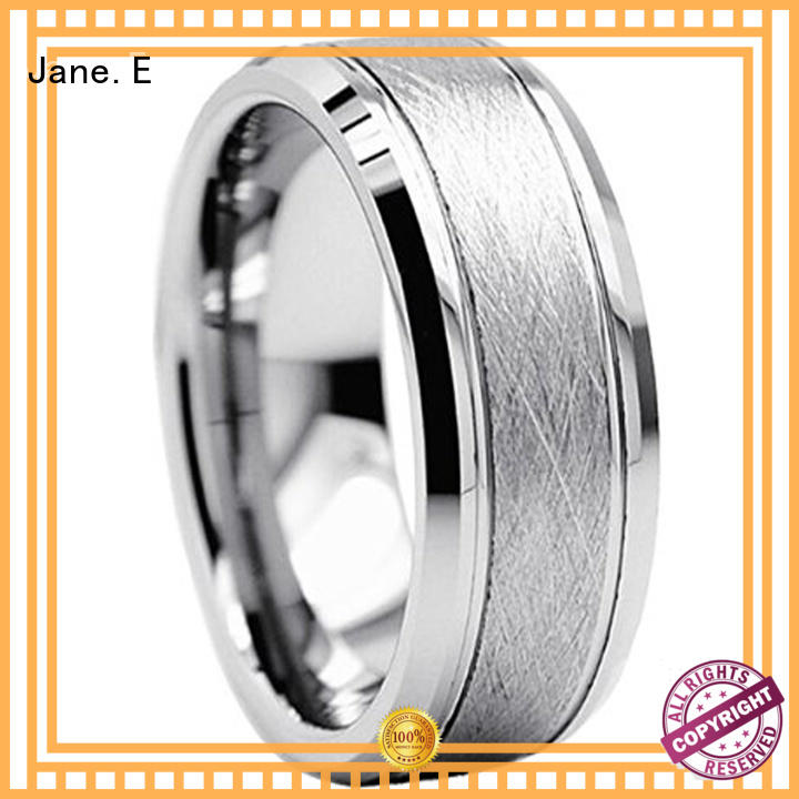 JaneE damascus texture opal inlay ring exquisite for wedding