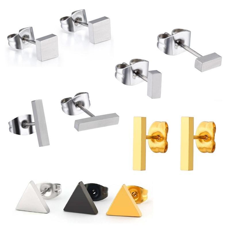 rainbow simple earrings big stub bar classic style for gift-1