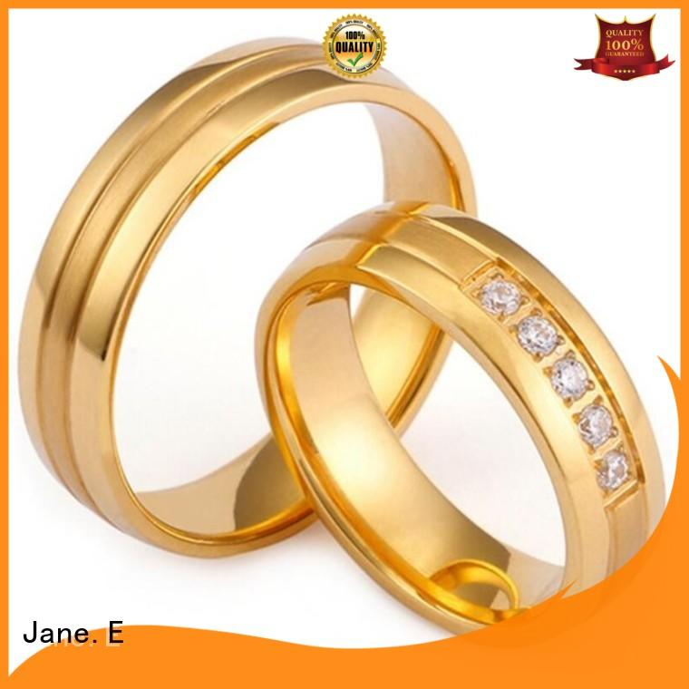 JaneE plating steel wedding rings comfortable for decoration