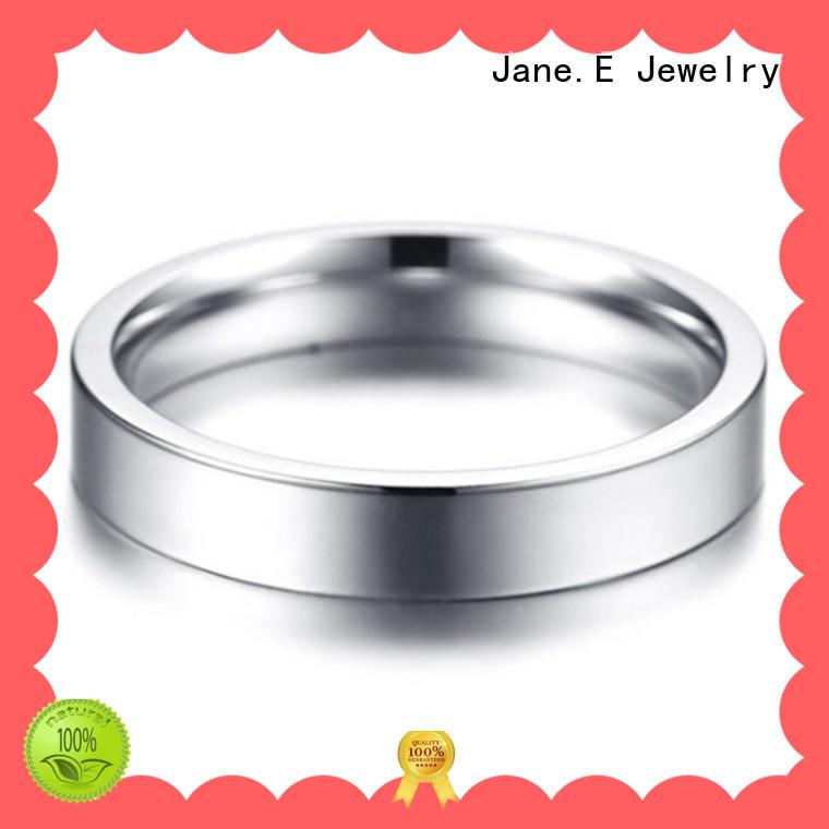 JaneE black ladies stainless steel rings comfortable for men