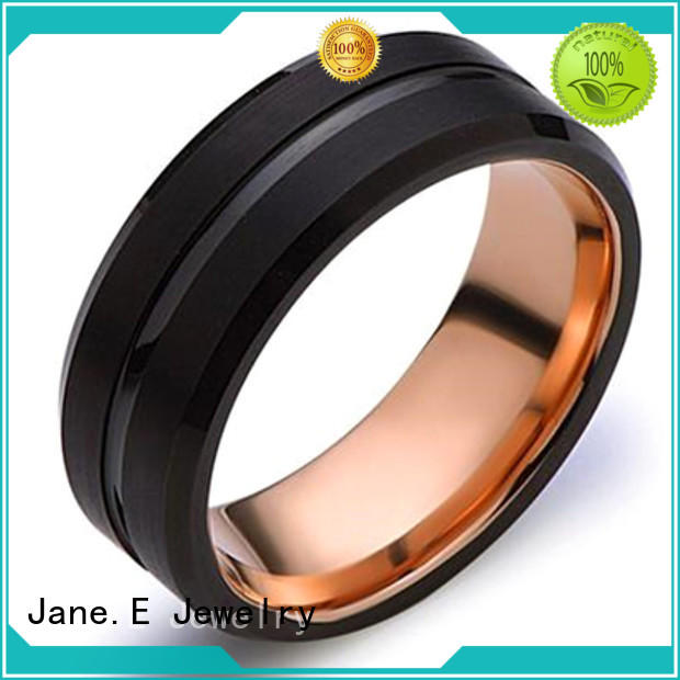 JaneE shiny polished tungsten rings for men engraved for gift