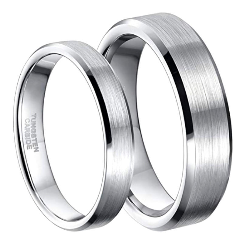 Tungsten Carbide Wedding Mens Tungsten Ring Brushed Polished Beveled Edge