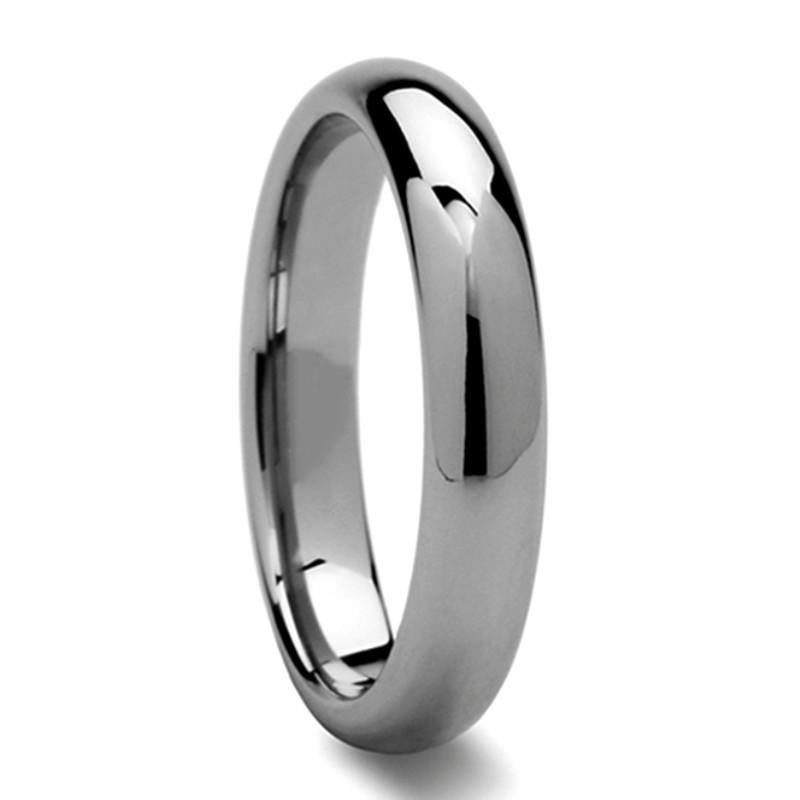 Mens Wedding Rings Tungsten 4mm Dome Shiny Polished