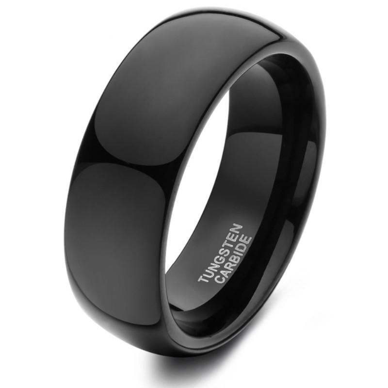 Men's Black Dome Custom Tungsten Carbide Wedding Bands Polished 6mm 8mm