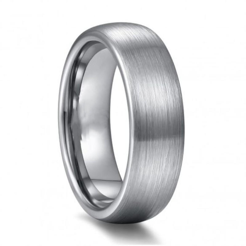 Domed Brushed Round Engraved Tungsten Rings Wedding 4mm-12mm