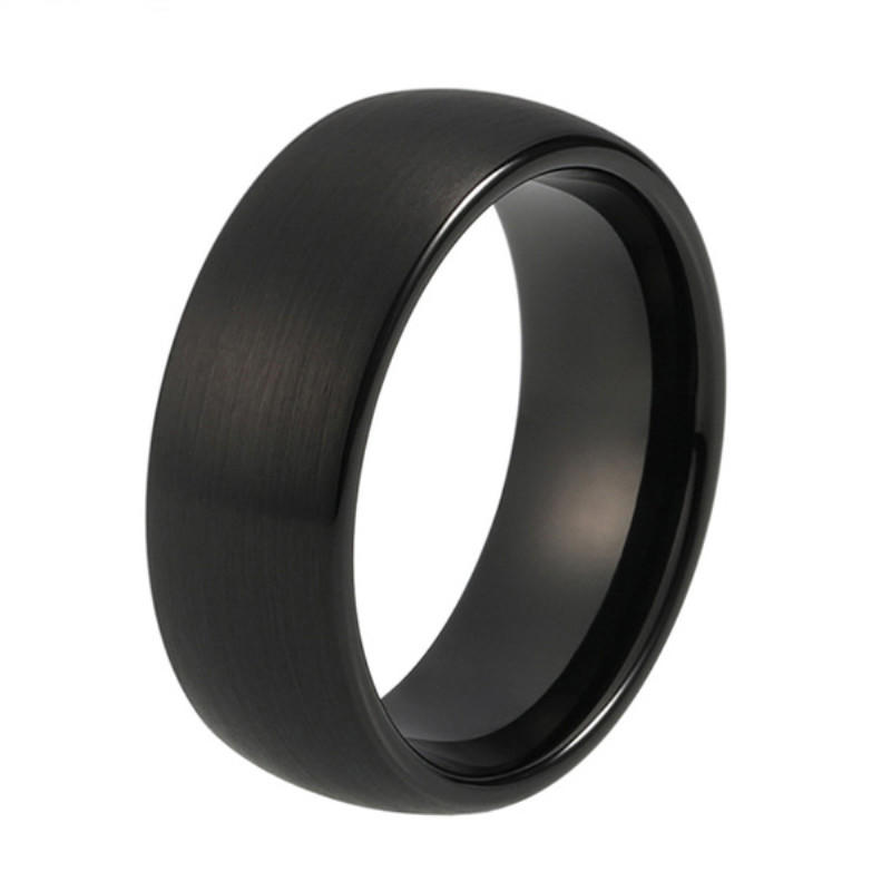 Round Dominus Brushed Custom Black Tungsten Rings Men 2mm - 12mm