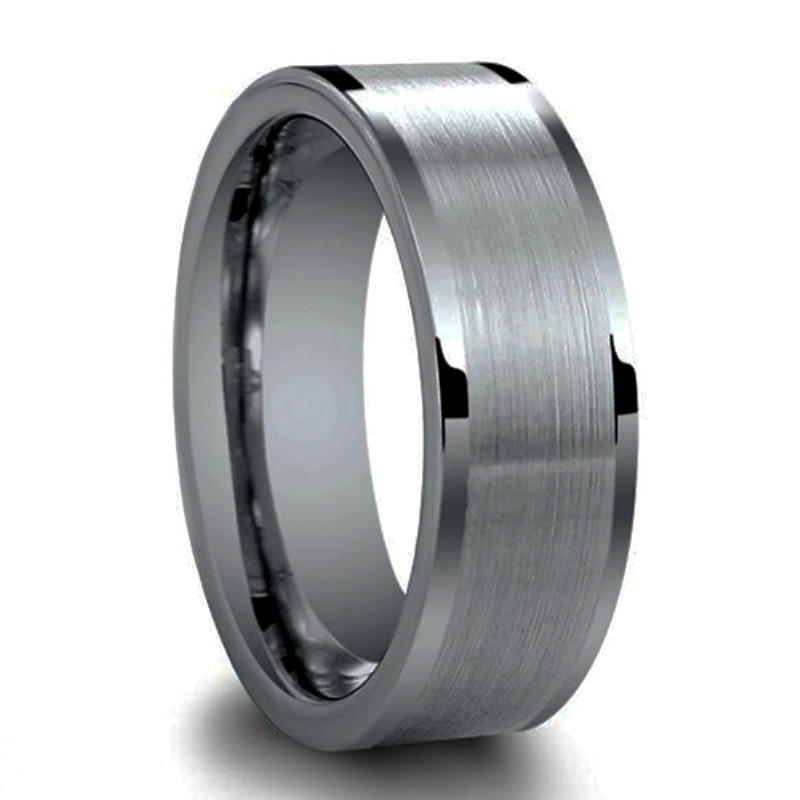 Brushed Center Flat Pipe Cut Polished Edge Tungsten Rings For Her