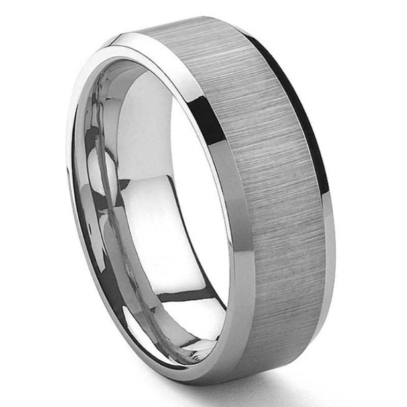 Wedding Band Unique Brushed Tungsten Carbide Ring 8mm