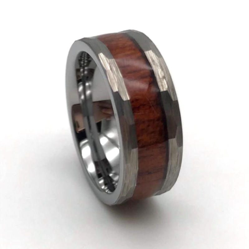 Best Selling Hammered Tungsten Koa Wood Inlay Wedding Band