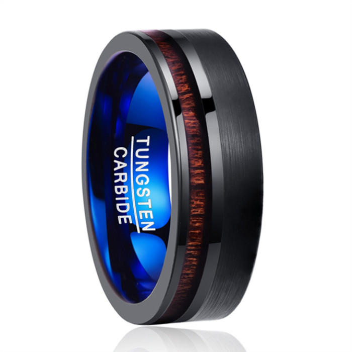 Two Tone Blue Tungsten Ring Black Tungsten Carbide Wedding Ring with Koa Wood Inlay