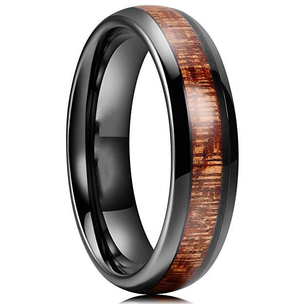 Men's Fashion Jewelry Hawai Koa Wood Black Tungsten Carbide Rings 6mm