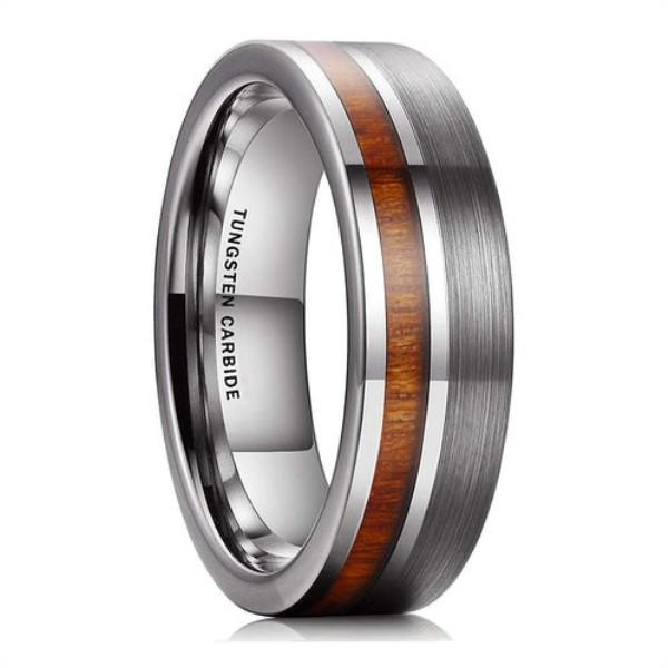 Koa Wood Tungsten Carbide Ring 8mm for Men