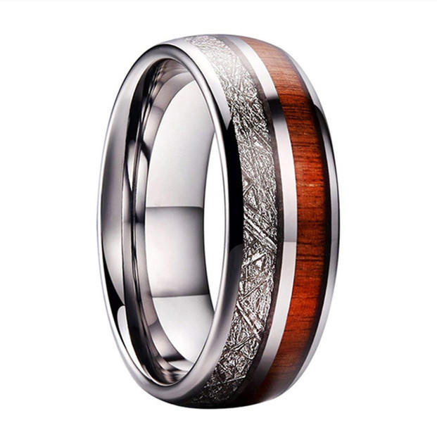 Meteorite and Koa Wood Inlay Tungsten Carbide Mens Wedding Rings Tungsten Silver Gold Rose Gold