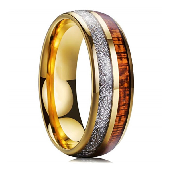 traditional gold tungsten ring meteorite matt for gift-2