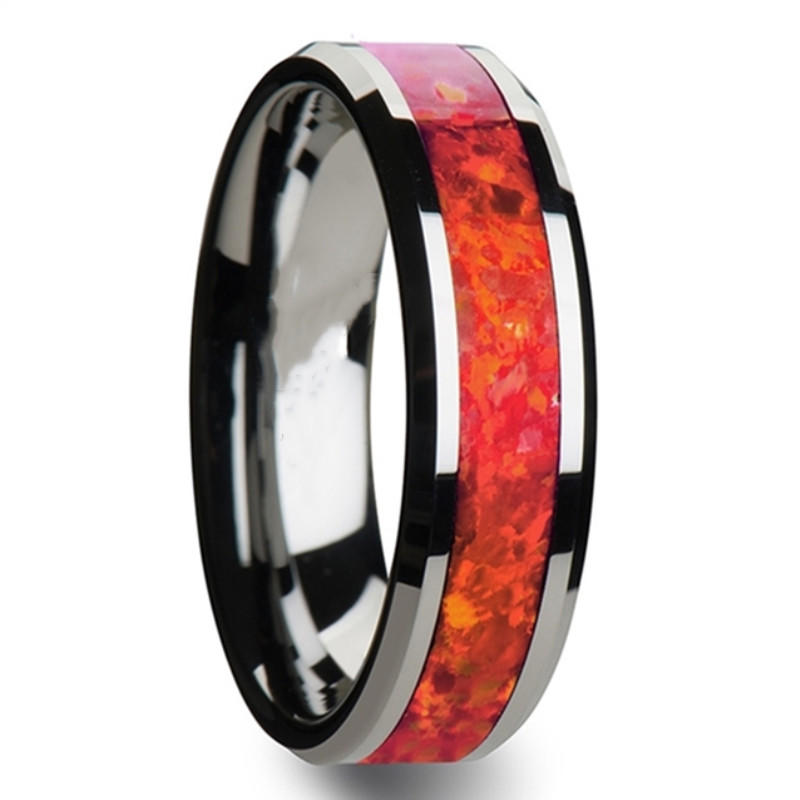 Red Opal Tungsten Carbide Rings for Men Women Wedding Bands