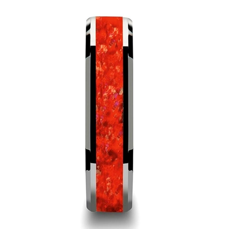 Red Opal Tungsten Carbide Rings for Men Women Wedding Bands